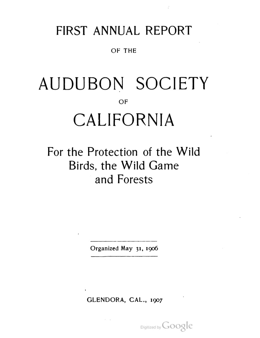 First annual report of Audubon Society of California
